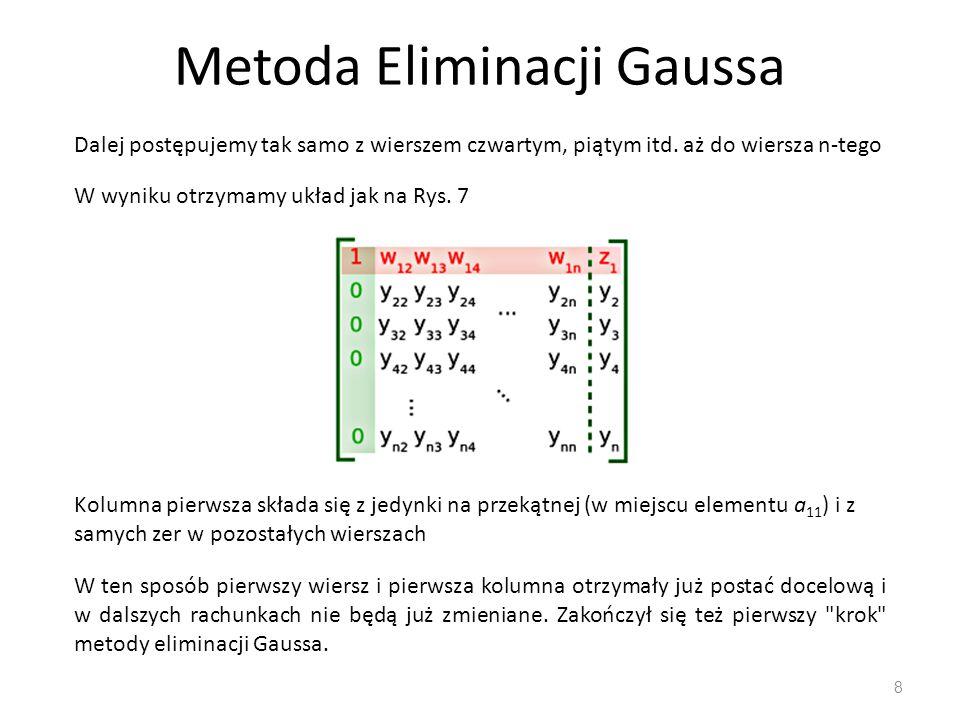 Metoda Eliminacji Gaussa 8 Dalej postępujemy tak samo z wierszem czwartym, piątym itd. aż do wiersza n-tego W wyniku otrzymamy układ jak na Rys. 7 Kol