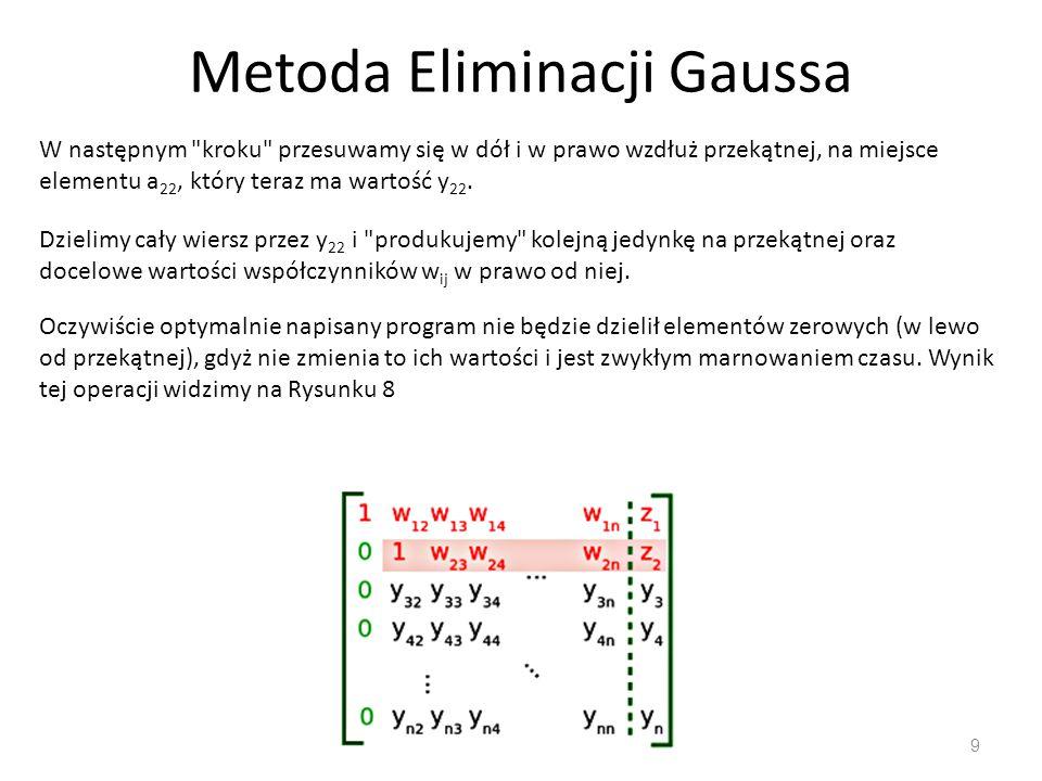 Metoda Eliminacji Gaussa 9 W następnym kroku przesuwamy się w dół i w prawo wzdłuż przekątnej, na miejsce elementu a 22, który teraz ma wartość y 22.