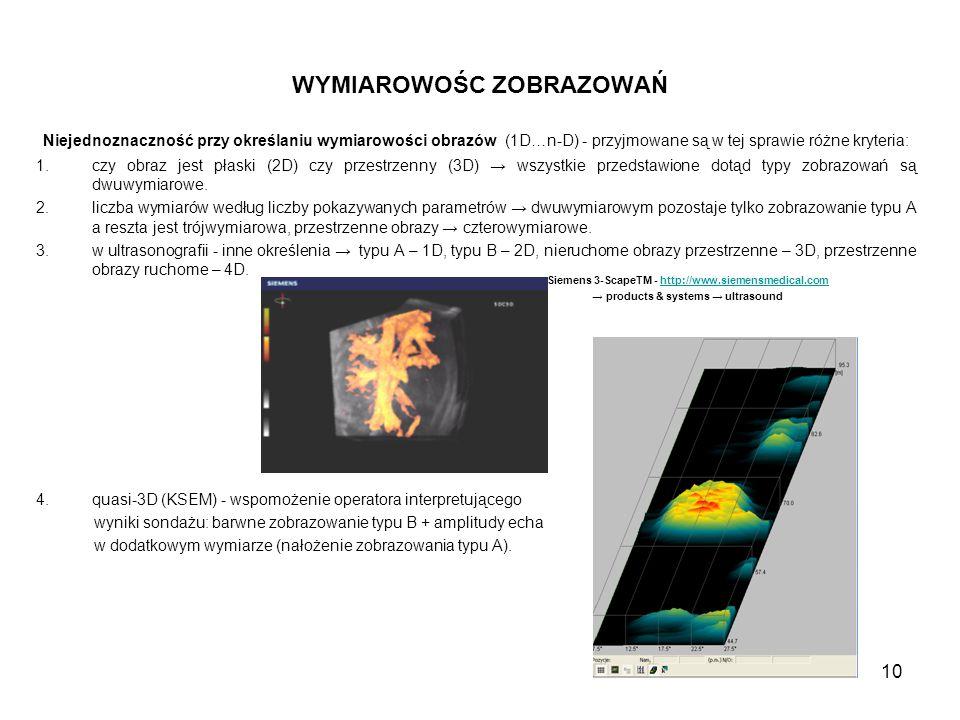 10 WYMIAROWOŚC ZOBRAZOWAŃ Niejednoznaczność przy określaniu wymiarowości obrazów (1D…n-D) - przyjmowane są w tej sprawie różne kryteria: 1.czy obraz j