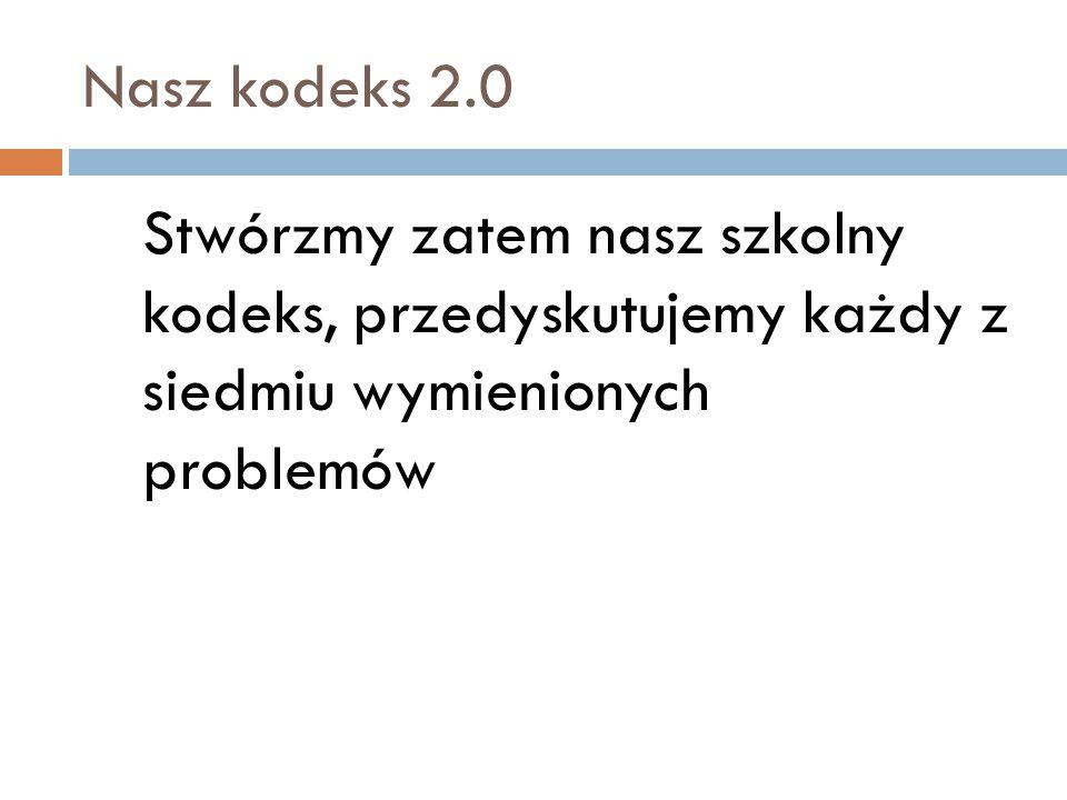 Nasz kodeks 2.0 Stwórzmy zatem nasz szkolny kodeks, przedyskutujemy każdy z siedmiu wymienionych problemów