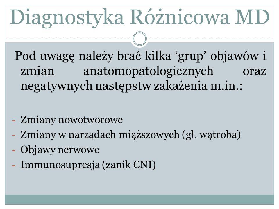 Pod uwagę należy brać kilka 'grup' objawów i zmian anatomopatologicznych oraz negatywnych następstw zakażenia m.in.: - Zmiany nowotworowe - Zmiany w n