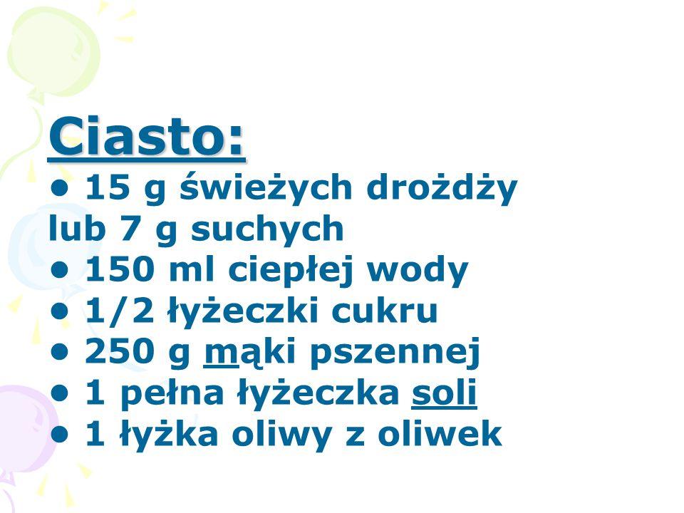 Sos pomidorowy i dodatki: Sos pomidorowy i dodatki: 1 puszka pomidorów bez skórek w sosie pomidorowym (najlepsze CIRIO) 1 łyżka oliwy z oliwek sól, pieprz, 1 łyżeczka cukru, 1/2 łyżeczki suszonego oregano 2 białe kulki mozzarelli 1/2 pęczka świeżej bazylii