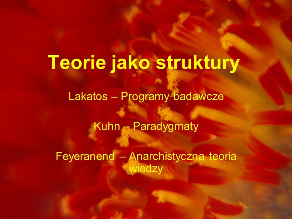 Teorie jako struktury Lakatos – Programy badawcze Kuhn – Paradygmaty Feyeranend – Anarchistyczna teoria wiedzy