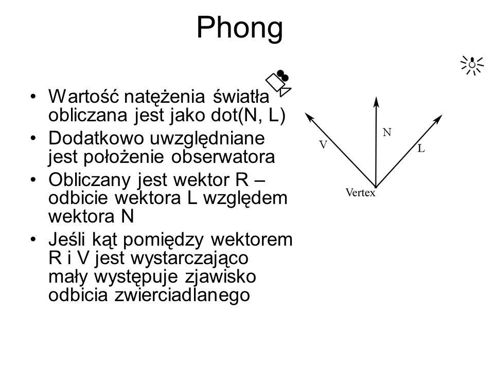 Wartość natężenia światła obliczana jest jako dot(N, L) Dodatkowo uwzględniane jest położenie obserwatora Obliczany jest wektor R – odbicie wektora L względem wektora N Jeśli kąt pomiędzy wektorem R i V jest wystarczająco mały występuje zjawisko odbicia zwierciadlanego Phong