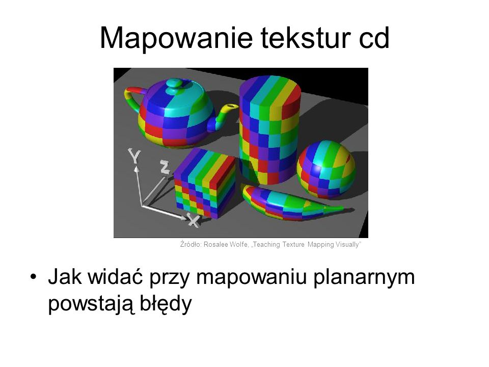Filtry anizotropowe i Gaussa Filtrowanie anizotropowe zapobiega powstawianiu artefaktów przy renderowaniu teksturowanych powierzchni nie równoległych do płaszczyzny ekranu Filtrowanie Gaussa polega na mieszaniu barw pewnej ilości sąsiednich tekseli przy wykorzystaniu wag opierających się na rozkładzie Gaussa