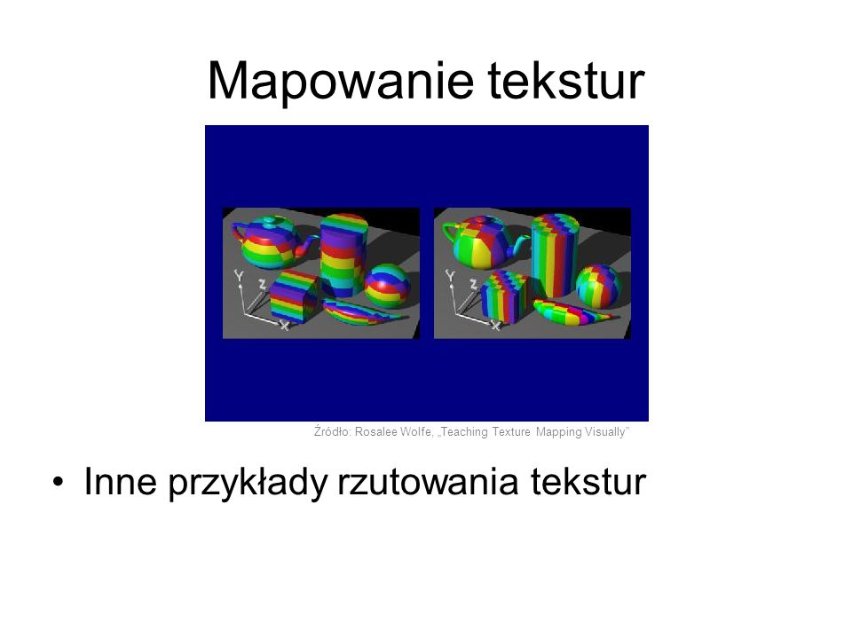 """Inne przykłady rzutowania tekstur Źródło: Rosalee Wolfe, """"Teaching Texture Mapping Visually"""" Mapowanie tekstur"""