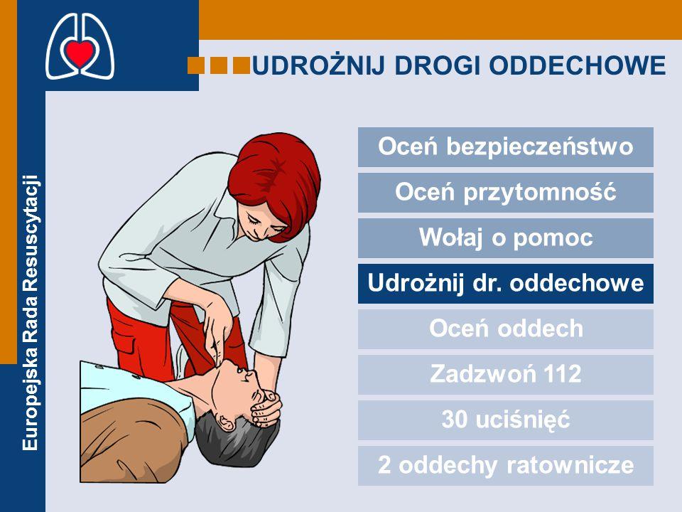 Europejska Rada Resuscytacji UDROŻNIJ DROGI ODDECHOWE Oceń bezpieczeństwo Oceń przytomność Wołaj o pomoc Udrożnij dr.