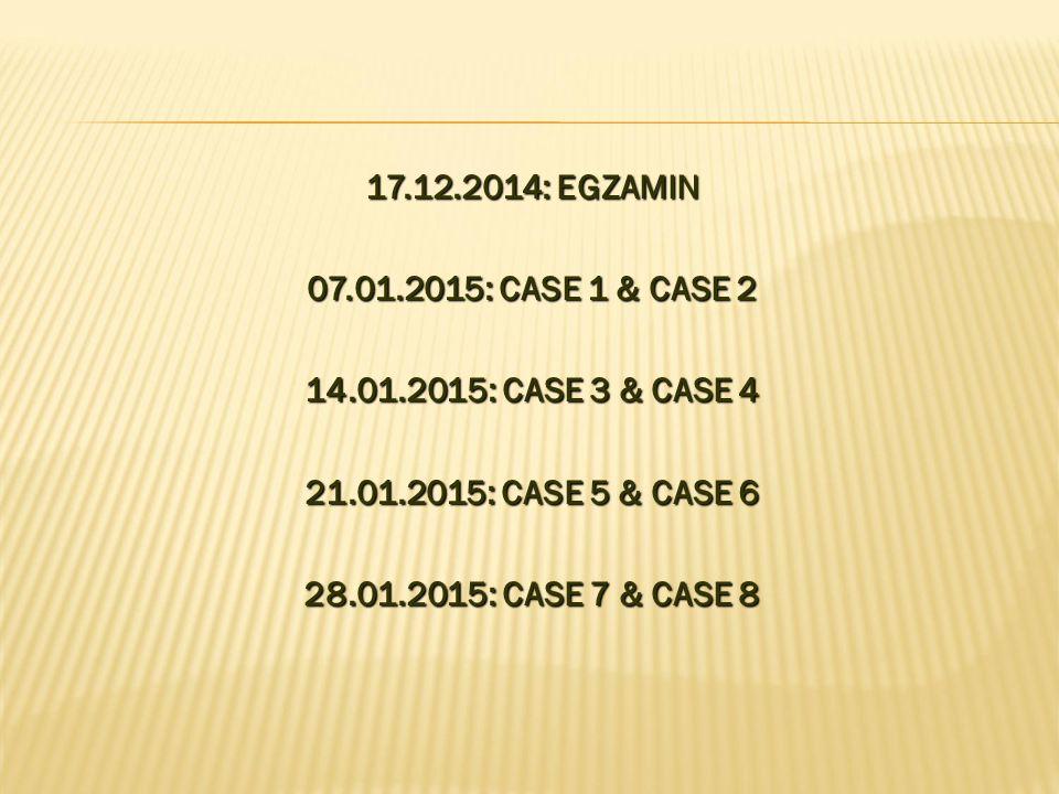 17.12.2014: EGZAMIN 07.01.2015: CASE 1 & CASE 2 14.01.2015: CASE 3 & CASE 4 21.01.2015: CASE 5 & CASE 6 28.01.2015: CASE 7 & CASE 8