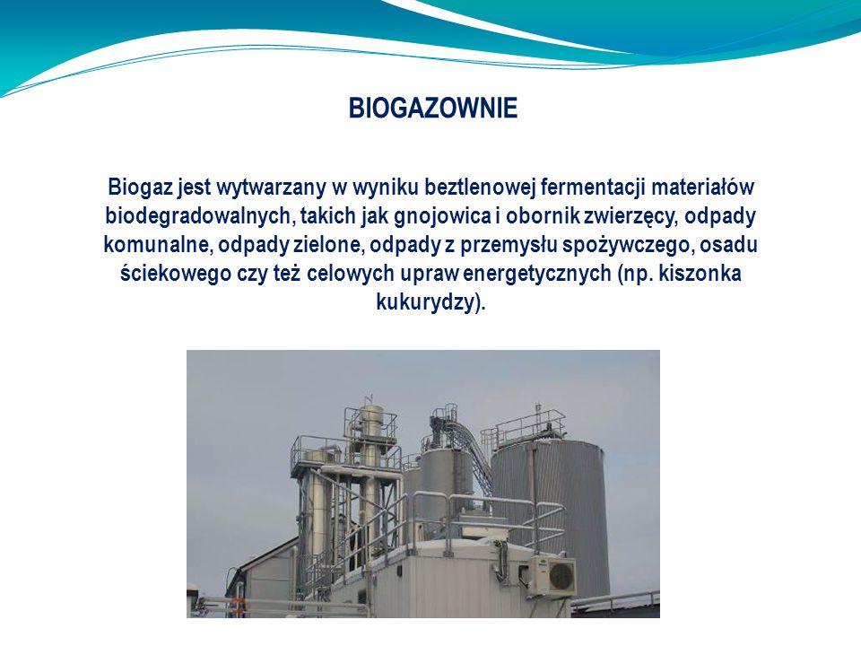 BIOGAZOWNIE Biogaz jest wytwarzany w wyniku beztlenowej fermentacji materiałów biodegradowalnych, takich jak gnojowica i obornik zwierzęcy, odpady kom