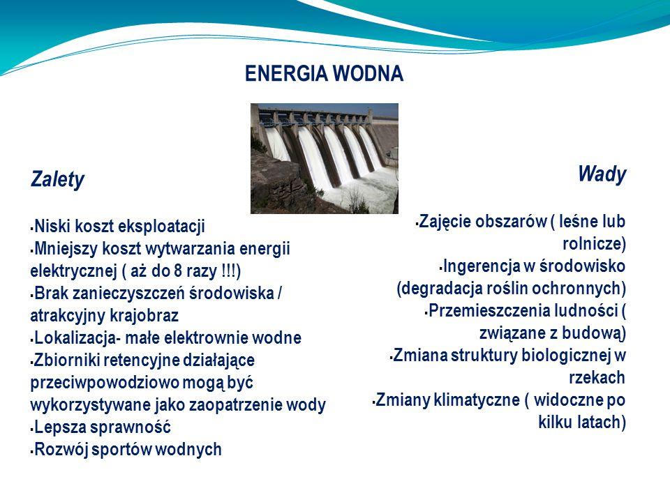 Zalety  Niski koszt eksploatacji  Mniejszy koszt wytwarzania energii elektrycznej ( aż do 8 razy !!!)  Brak zanieczyszczeń środowiska / atrakcyjny