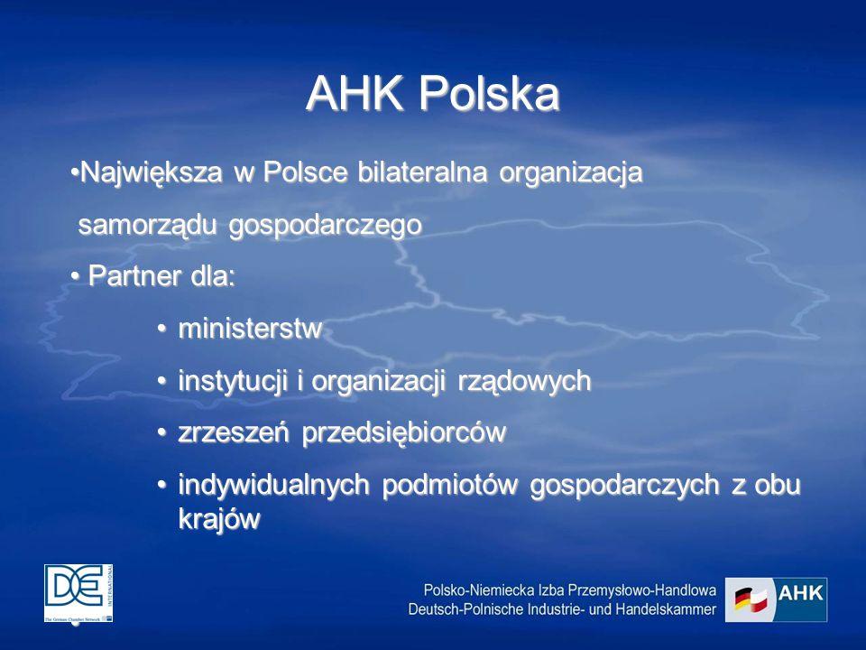 AHK Polska Największa w Polsce bilateralna organizacjaNajwiększa w Polsce bilateralna organizacja samorządu gospodarczego samorządu gospodarczego Partner dla: Partner dla: ministerstwministerstw instytucji i organizacji rządowychinstytucji i organizacji rządowych zrzeszeń przedsiębiorcówzrzeszeń przedsiębiorców indywidualnych podmiotów gospodarczych z obu krajówindywidualnych podmiotów gospodarczych z obu krajów