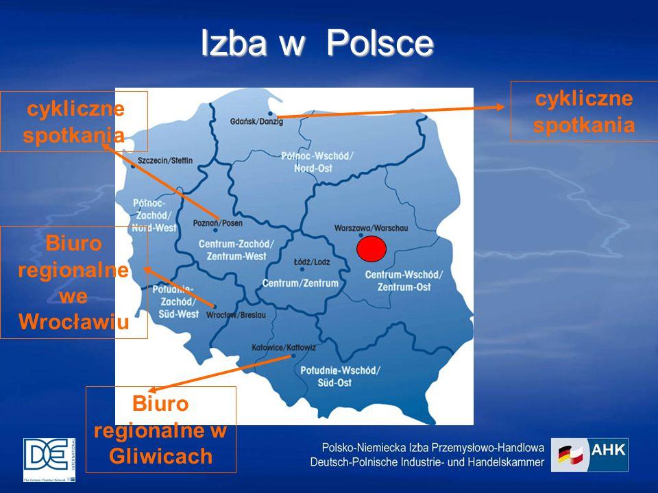 Izba w Polsce Biuro regionalne w Gliwicach Biuro regionalne we Wrocławiu cykliczne spotkania