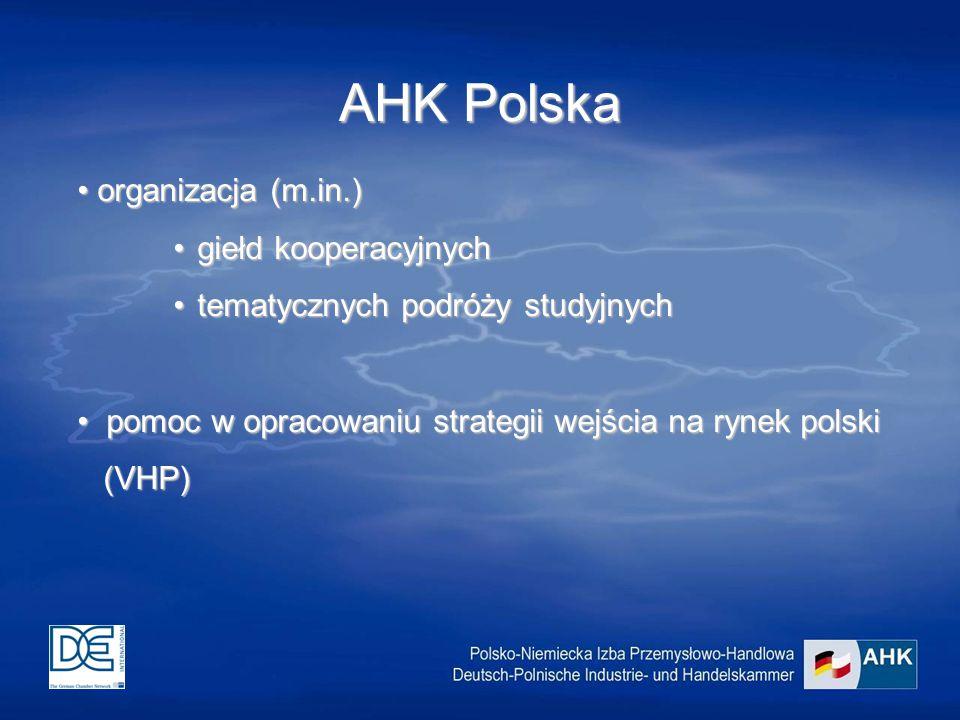 AHK Polska organizacja (m.in.) organizacja (m.in.) giełd kooperacyjnychgiełd kooperacyjnych tematycznych podróży studyjnychtematycznych podróży studyjnych pomoc w opracowaniu strategii wejścia na rynek polski pomoc w opracowaniu strategii wejścia na rynek polski (VHP) (VHP)