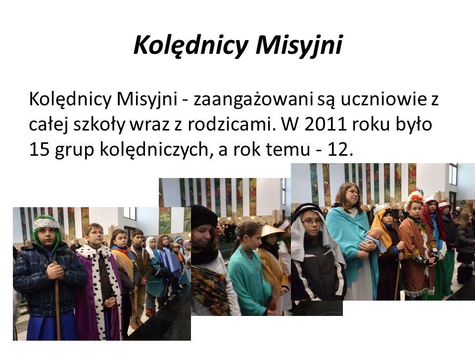 Kolędnicy Misyjni Kolędnicy Misyjni - zaangażowani są uczniowie z całej szkoły wraz z rodzicami. W 2011 roku było 15 grup kolędniczych, a rok temu - 1