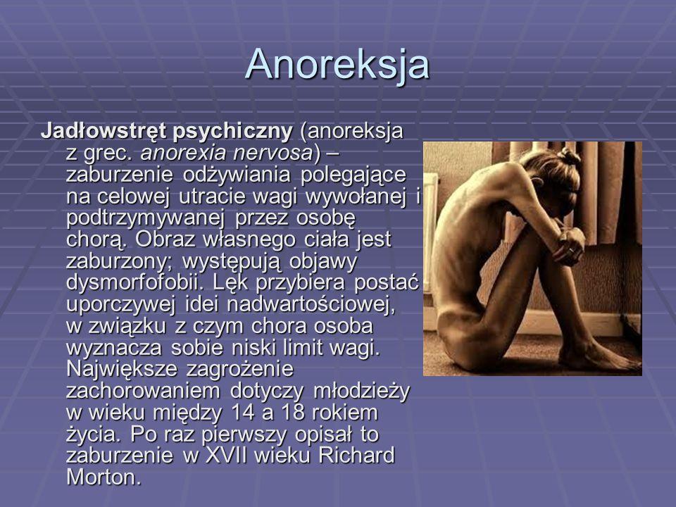Anoreksja Jadłowstręt psychiczny (anoreksja z grec.
