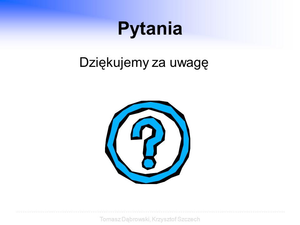Tomasz Dąbrowski, Krzysztof Szczech Pytania Dziękujemy za uwagę