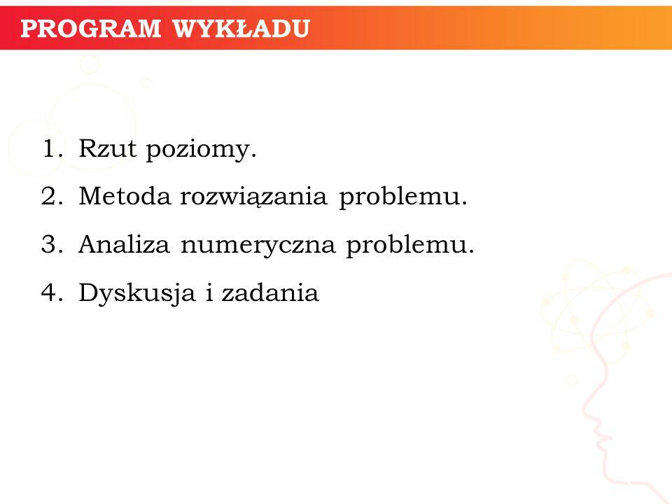 PROGRAM WYKŁADU 1.Rzut poziomy. 2.Metoda rozwiązania problemu.