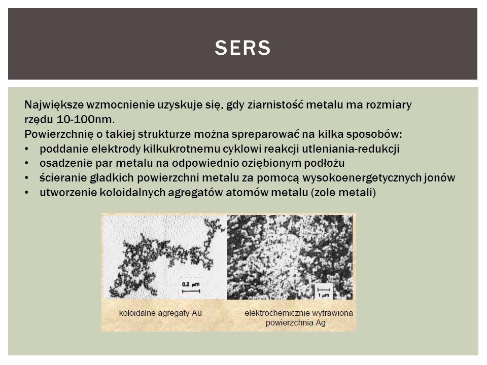 SERS Największe wzmocnienie uzyskuje się, gdy ziarnistość metalu ma rozmiary rzędu 10-100nm. Powierzchnię o takiej strukturze można spreparować na kil