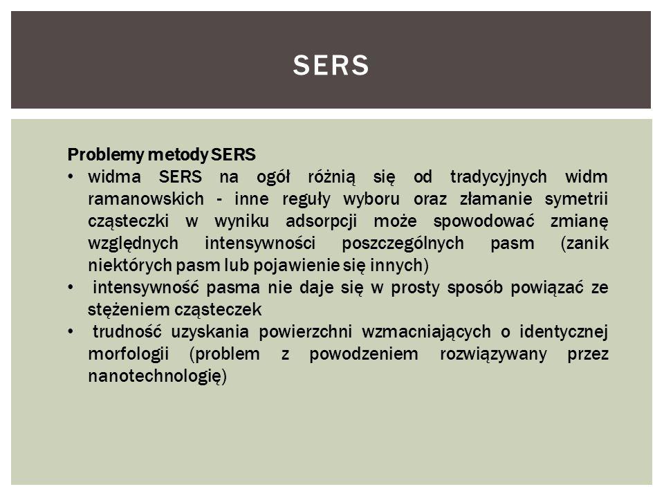 Problemy metody SERS widma SERS na ogół różnią się od tradycyjnych widm ramanowskich - inne reguły wyboru oraz złamanie symetrii cząsteczki w wyniku a