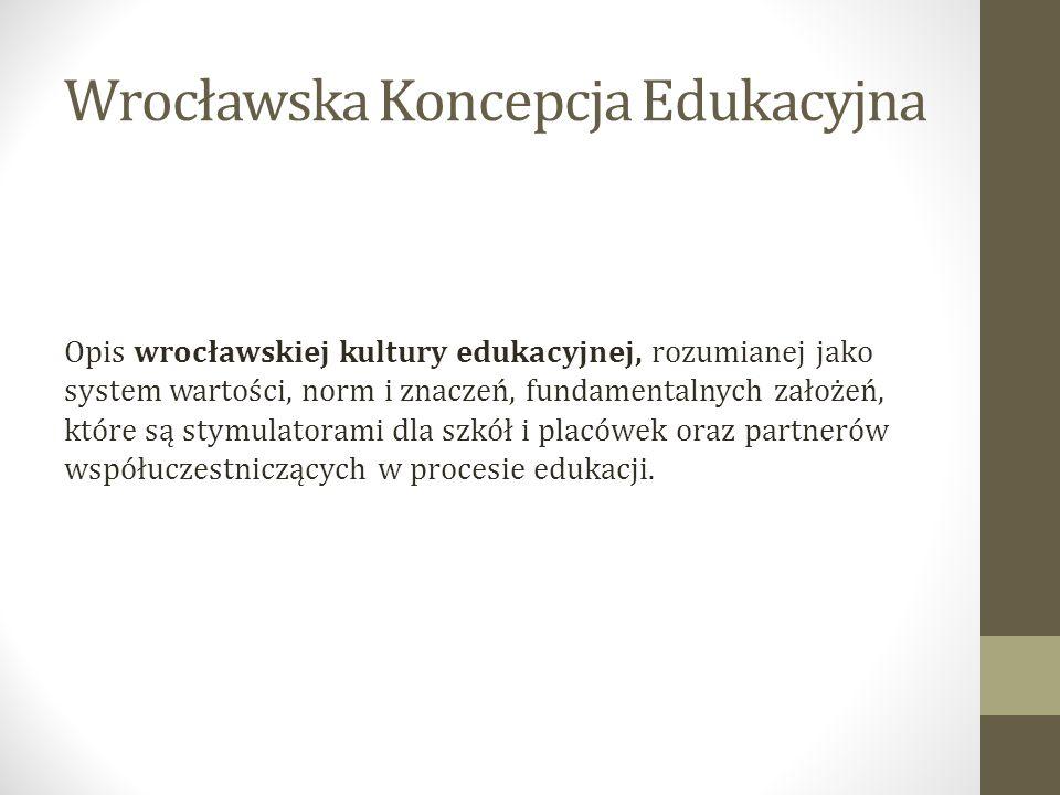 Wrocławska Koncepcja Edukacyjna Opis wrocławskiej kultury edukacyjnej, rozumianej jako system wartości, norm i znaczeń, fundamentalnych założeń, które są stymulatorami dla szkół i placówek oraz partnerów współuczestniczących w procesie edukacji.