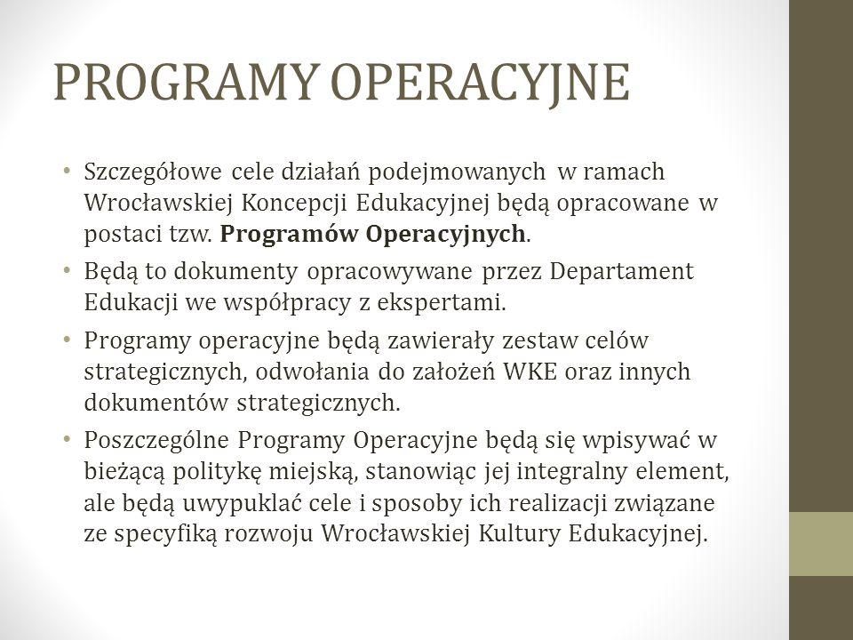 PROGRAMY OPERACYJNE Szczegółowe cele działań podejmowanych w ramach Wrocławskiej Koncepcji Edukacyjnej będą opracowane w postaci tzw. Programów Operac