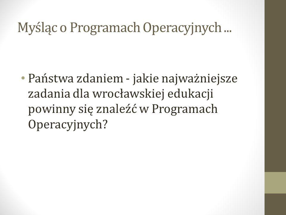 Myśląc o Programach Operacyjnych... Państwa zdaniem - jakie najważniejsze zadania dla wrocławskiej edukacji powinny się znaleźć w Programach Operacyjn