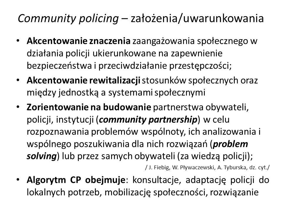 Community policing – założenia/uwarunkowania Akcentowanie znaczenia zaangażowania społecznego w działania policji ukierunkowane na zapewnienie bezpieczeństwa i przeciwdziałanie przestępczości; Akcentowanie rewitalizacji stosunków społecznych oraz między jednostką a systemami społecznymi Zorientowanie na budowanie partnerstwa obywateli, policji, instytucji (community partnership) w celu rozpoznawania problemów wspólnoty, ich analizowania i wspólnego poszukiwania dla nich rozwiązań (problem solving) lub przez samych obywateli (za wiedzą policji); / J.