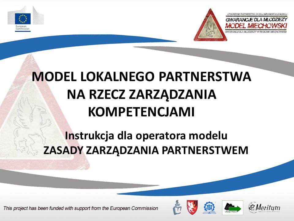 MODEL LOKALNEGO PARTNERSTWA NA RZECZ ZARZĄDZANIA KOMPETENCJAMI Instrukcja dla operatora modelu ZASADY ZARZĄDZANIA PARTNERSTWEM