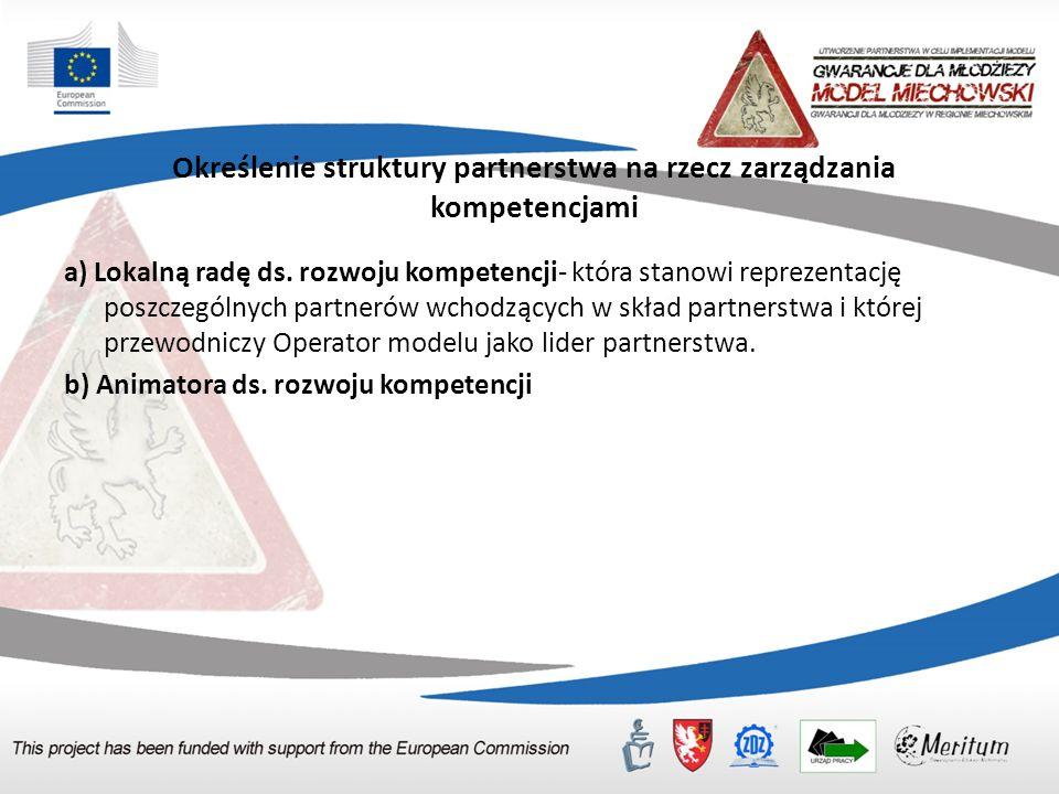 Określenie struktury partnerstwa na rzecz zarządzania kompetencjami a) Lokalną radę ds.