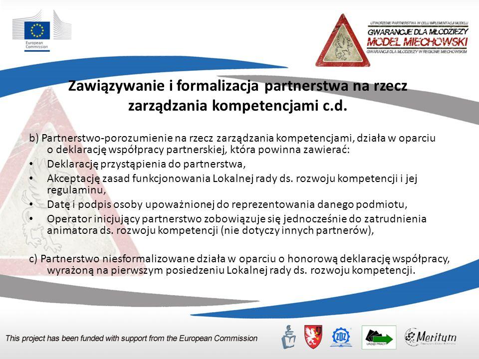 Zawiązywanie i formalizacja partnerstwa na rzecz zarządzania kompetencjami c.d.