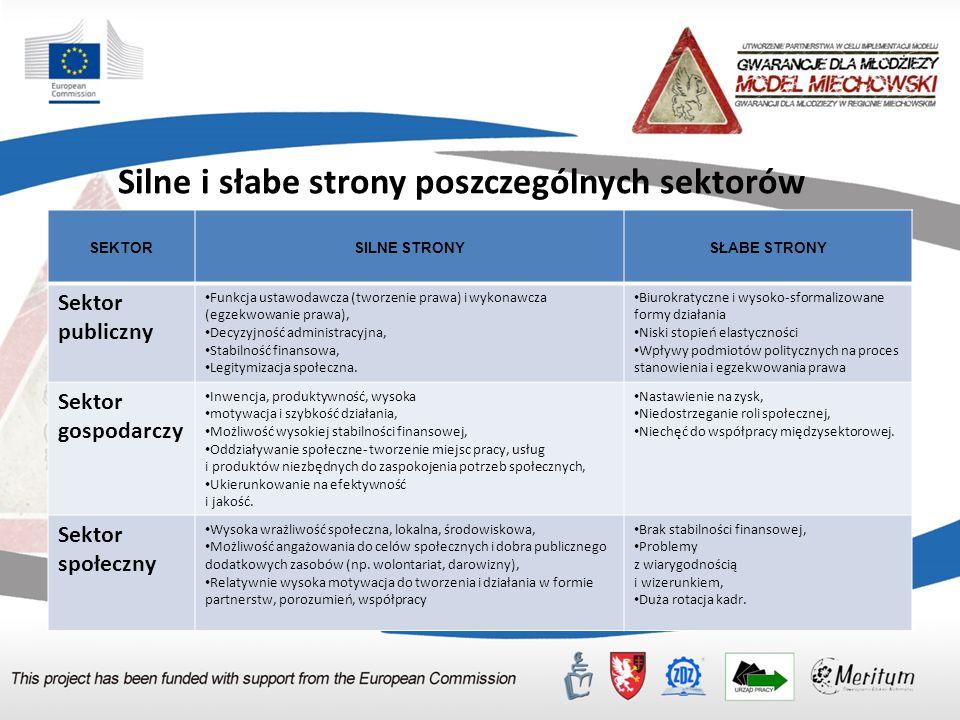 Sektorowy podział partnerów partnerstwa na rzecz zarządzania kompetencjami.