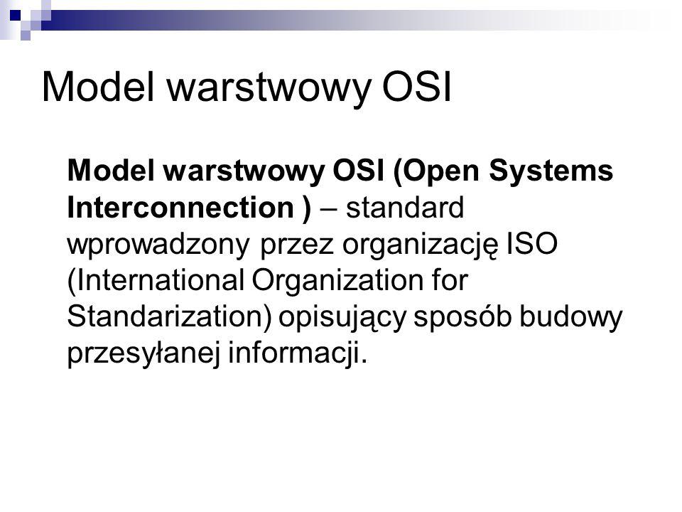 Model warstwowy OSI (Open Systems Interconnection ) – standard wprowadzony przez organizację ISO (International Organization for Standarization) opisujący sposób budowy przesyłanej informacji.