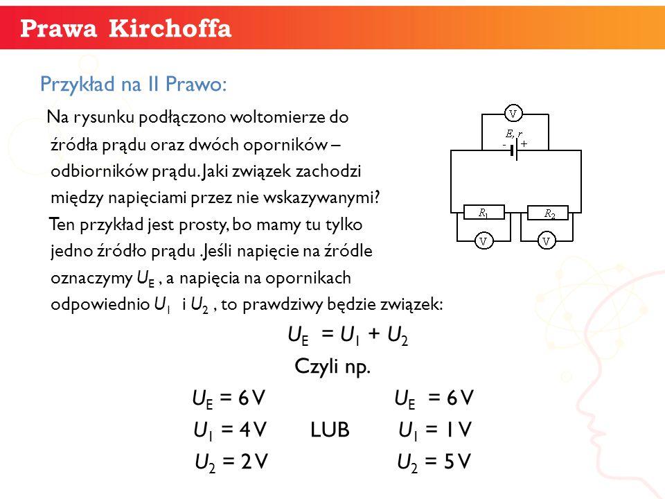 Przykład na II Prawo: Na rysunku podłączono woltomierze do źródła prądu oraz dwóch oporników – odbiorników prądu. Jaki związek zachodzi między napięci