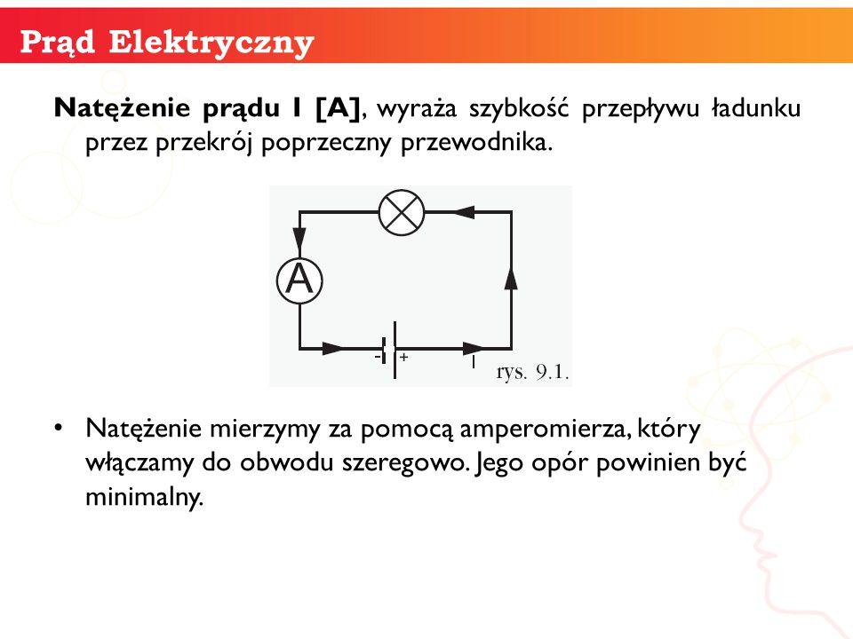 Natężenie prądu I [A], wyraża szybkość przepływu ładunku przez przekrój poprzeczny przewodnika. Natężenie mierzymy za pomocą amperomierza, który włącz