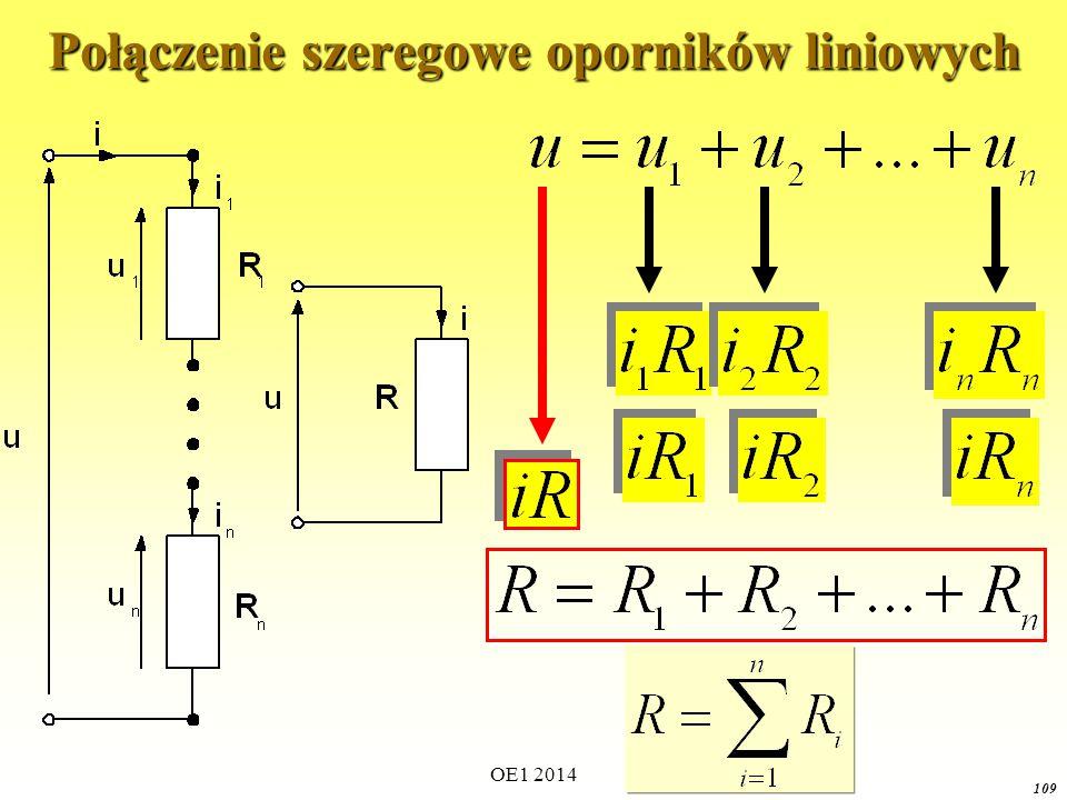 OE1 2014 108 Obliczanie prostych obwodów Połączenie szeregowe oporników liniowych Połączenie szeregowe elementów nieliniowych (charakterystyka wypadkowa) Połączenie równoległe oporników liniowych.