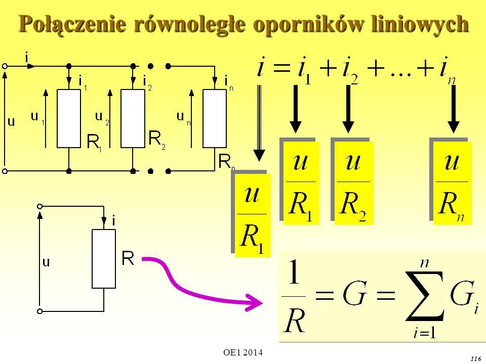 OE1 2014 115Podsumowanie Aby wyznaczyć wypadkową charakterystykę elementów nieliniowych połączonych szeregowo należy dla wszystkich (lub wybranych z określoną dokładnością) wartości prądu dodać wartości napięć elementów składowych.