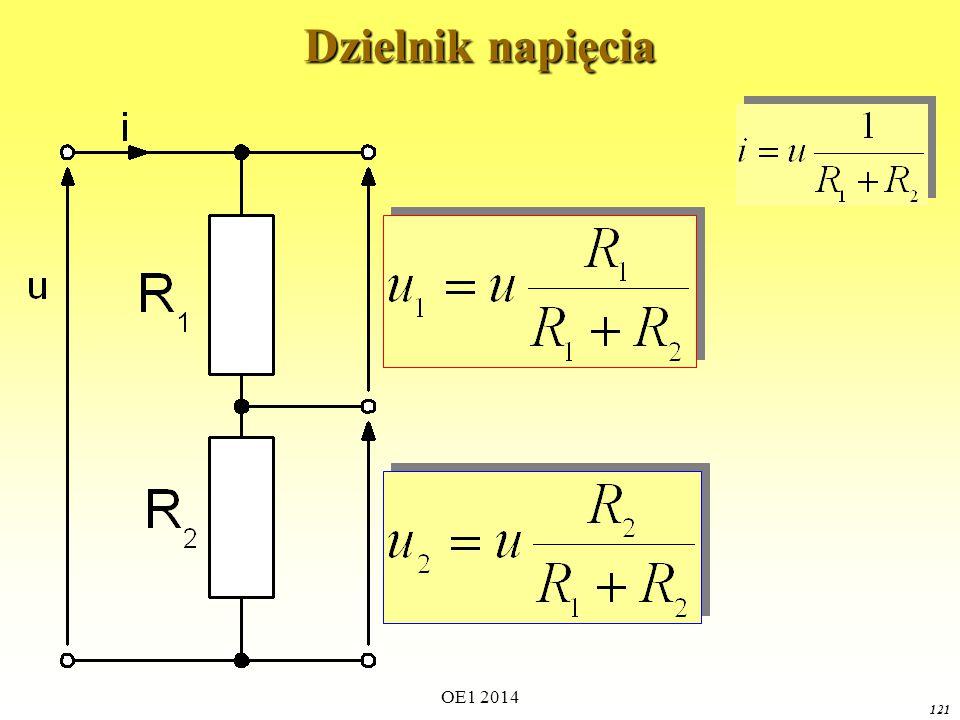 OE1 2014 120 Dzielnik prądu Wyznaczyć prądy połączonych równolegle oporników jeśli znamy ich wartości oraz prąd dopływający do połączenia:
