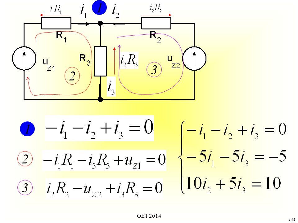 OE1 2014 132 Przykład prostego obwodu z rozwiązaniem Oblicz prądy gałęziowe w układzie z powyższego rysunku.