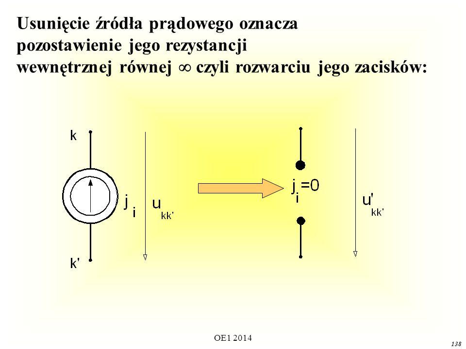 OE1 2014 137 Zasada superpozycji Odpowiedź układu liniowego na sumę wymuszeń działających jednocześnie jest równa algebraicznej sumie odpowiedzi układu na poszczególne wymuszenia działające osobno.