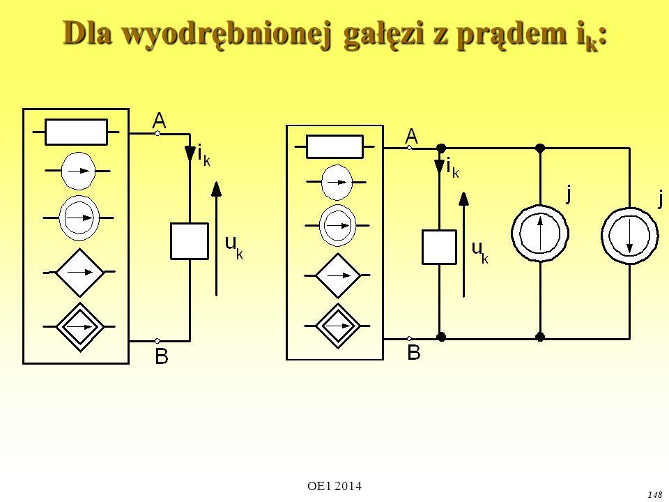 OE1 2014 147 Jeśli e = u k u AC = 0 Gałąź obwodu, na której występuje napięcie u k można zastąpić idealnym źródłem napięcia o napięciu źródłowym e = u k