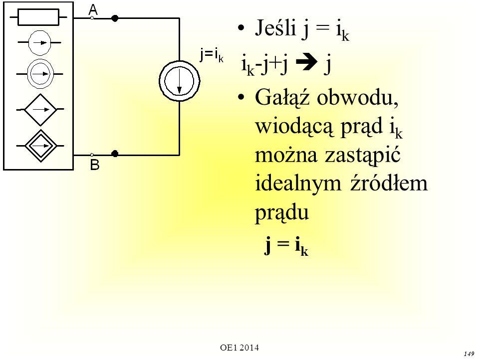 OE1 2014 148 Dla wyodrębnionej gałęzi z prądem i k :