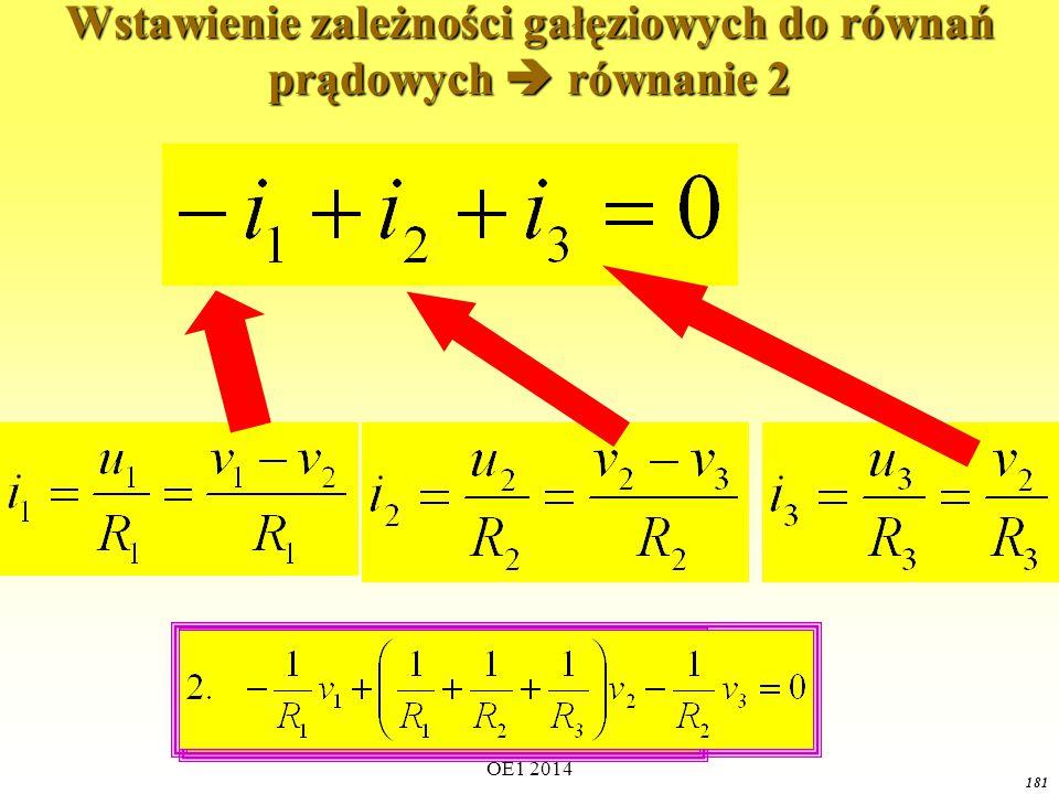 OE1 2014 180 Wstawienie zależności gałęziowych do równań prądowych  równanie 1