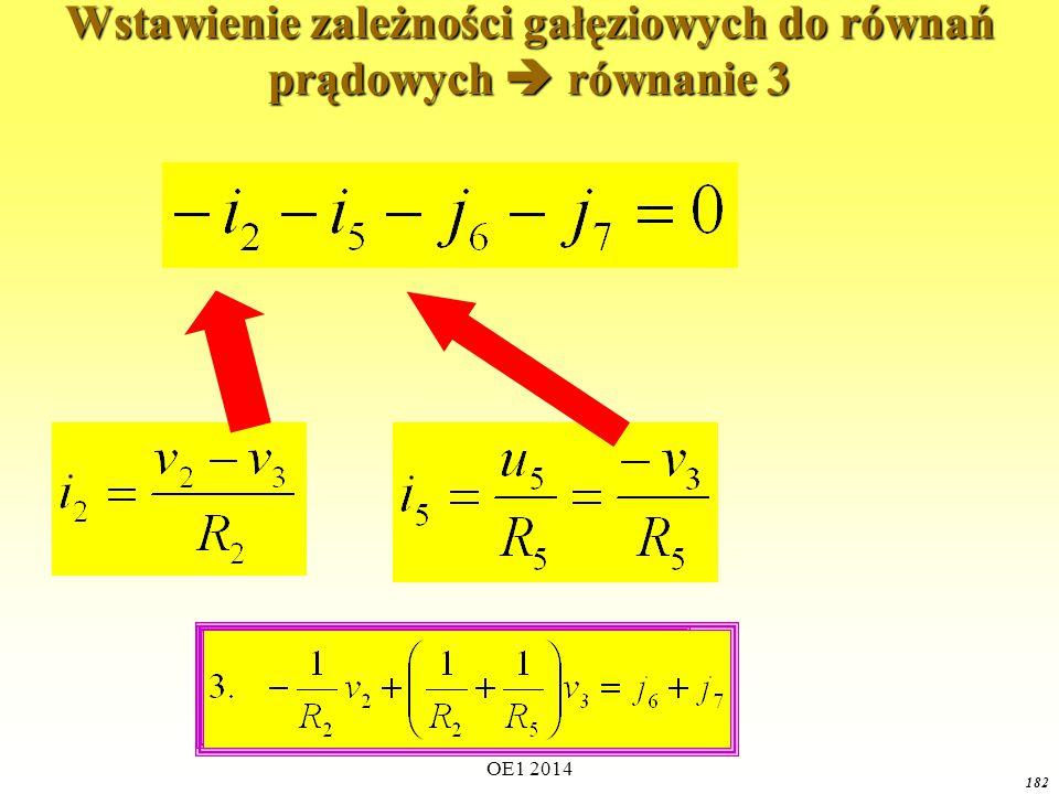 OE1 2014 181 Wstawienie zależności gałęziowych do równań prądowych  równanie 2