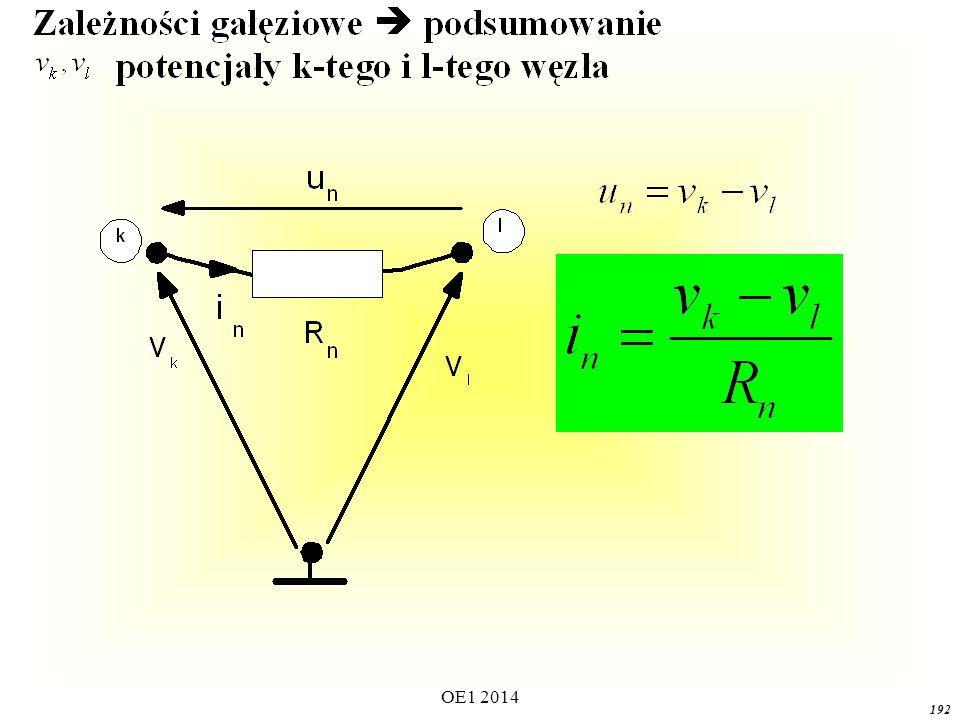 OE1 2014 191 Opis algorytmu 1.Wybieramy (dowolnie) jeden z a węzłów jako węzeł odniesienia NIEWIADOME: Potencjały ( a-1) węzłów niezależnych oraz prądy wszystkich idealnych źródeł napięciowych.