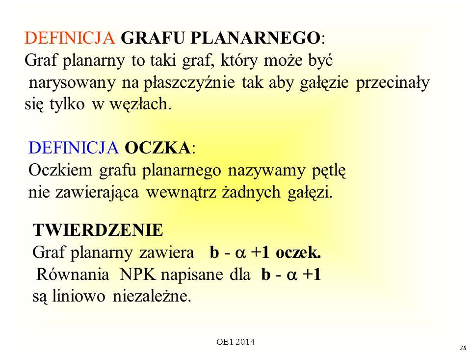 OE1 2014 37 Twierdzenia dotyczące PRAW KIRCHHOFFA (1) Maksymalna liczba równań liniowo niezależnych otrzymanych z PPK wynosi  Równania te można napisać stosując PPK do  fundamentalnych przekrojów.