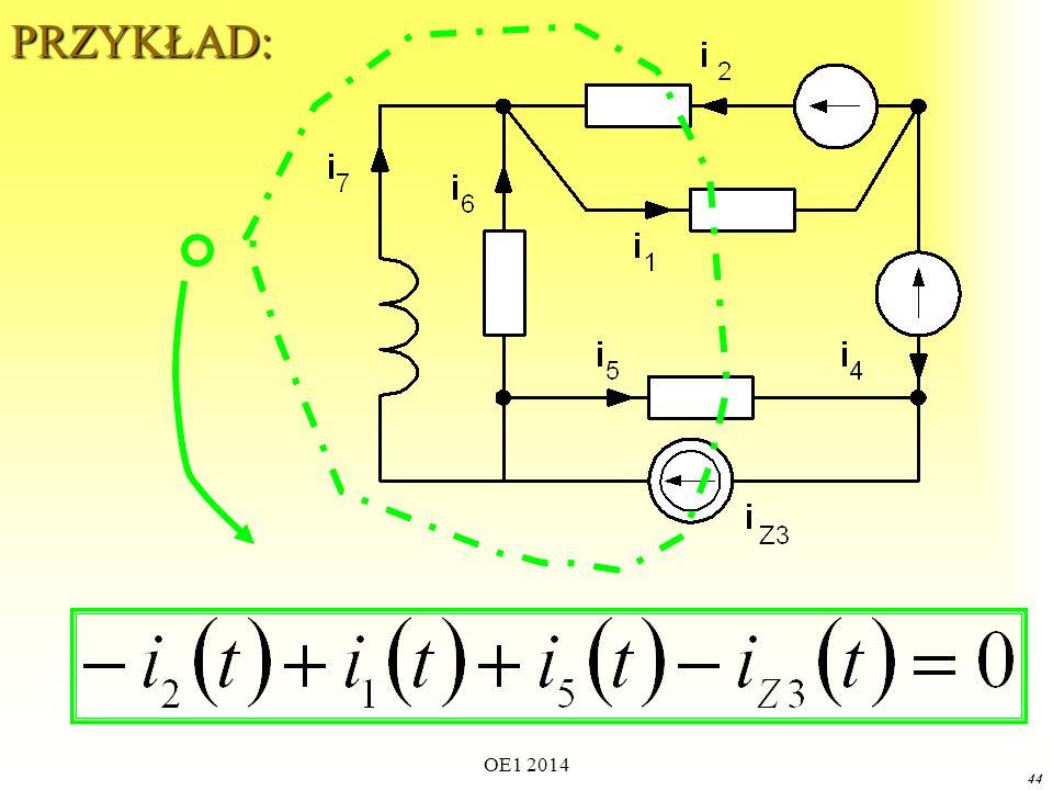 OE1 2014 43 Prądowe Prawo Kirchhoffa (ogólniej) Dla dowolnego obwodu elektrycznego w dowolnej chwili algebraiczna suma prądów przenikających dowolną gaussowską powierzchnię zamkniętą wynosi zero.Dla dowolnego obwodu elektrycznego w dowolnej chwili algebraiczna suma prądów przenikających dowolną gaussowską powierzchnię zamkniętą wynosi zero.