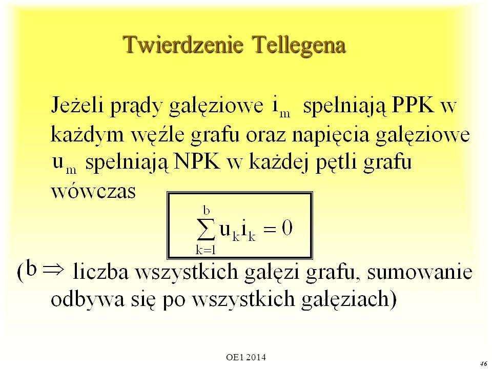 OE1 2014 45 Zasady pisania równań Kirchhoffa n węzłachb gałęziachDla obwodu o n węzłach i b gałęziach można napisać:  n-1 liniowo niezależnych równań z PPK (dla n-1 dowolnie wybranych węzłów)  b-n+1 liniowo niezależnych równań z NPK (dla b-n+1 odpowiednio wybranych pętli) n węzłachb gałęziach  Ogólna liczba liniowo niezależnych równań jakie można napisać dla obwodu o n węzłach i b gałęziach wynosi: