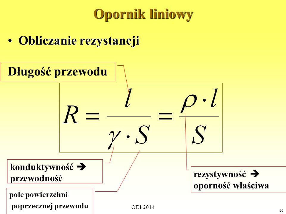 58 Opornik liniowy RównaniaRównania Symbole Jednostki Charakterystyka prądowo-napięciowa
