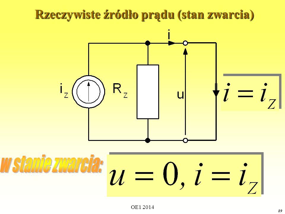 OE1 2014 88 Rzeczywiste źródło prądu (model praktyczny) Rzeczywiste źródło prądu (model praktyczny) i