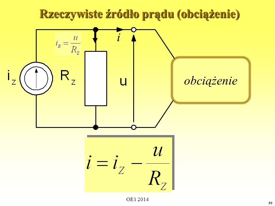 OE1 2014 89 Rzeczywiste źródło prądu (stan zwarcia) Rzeczywiste źródło prądu (stan zwarcia)